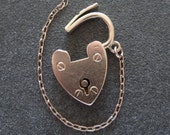 9ct Carat Rose Gold Charm Bracelet Heart Padlock Clasp & Safety Chain Antique Edwardian Hallmarked CHESTER 1903