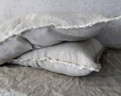 Linen Fringe Pillowcase Stonewashed linen pillow case envelope closure grey softened pillow cover linen bedding natural flax color
