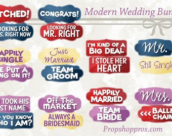 BEST SELLER Wedding Props | Wedding Signs | Photo Booth Props | Prop Signs | Modern Bundle