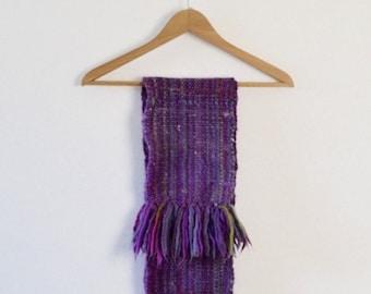 Handmade Purple Scarf  | Handwoven Winter Scarf  |  Women's Winter Scarf