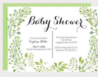 Baby Shower Invitation-Leaves, Floral, Pete Cottontail theme, Elegant, Green