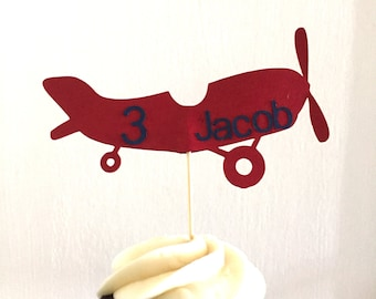 Set of 12• Cupcake toppers• Customize number and name•Vintage inspired airplane• Homemade• Made to order