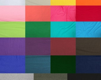 """Cotton Jersey Spandex Knit Stretch Fabric. 60"""" Wide. Medium Weight 10oz-- 23 Colors"""