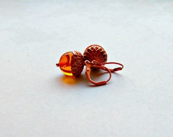 Amber Acorn Earrings Copper Acorn Earrings Gifts for Her.