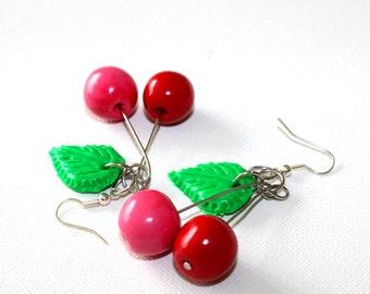Cherry earrings, Food earrings, Polymer clay jewelry, Miniature food earrings, Fruit earrings, Vegan earrings, Vegan jewelry, Fruit jewelry