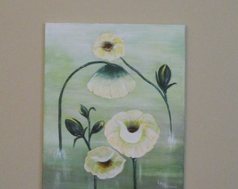 Water Flowers  Contempory Pond Scene Calming Serene 16x20 Original A Thoughtful Gift!