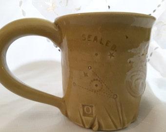 Gloss Honey Glazed Ceramic Mug. Name - SEALED.53: Texture Series