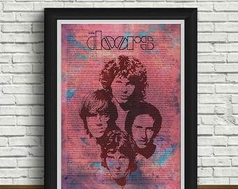 The Doors poster | music | rock band | home interior | The Doors art | vintage | postcards | newspaper design | The Doors record |retro