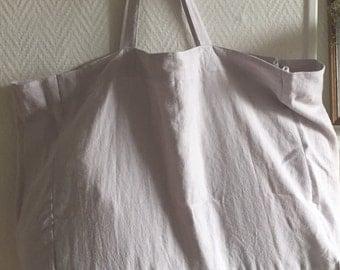 Grey white linen Tote