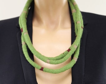 Felted Wool  Necklace, Eco-friendly Wool Jewelry, Hand Felted Merino, Textile Jewelry,  Moss Green,,