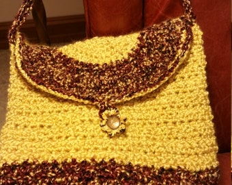 Purse/Messenger Bag Handmade - Crocheted  Yellow and Rust
