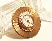 Bulova Caravelle Watch Pendant Goldtone Starburst Diamond Cut Design Wind Up Working Watch Vintage 1970s Collectible Watch Mother's Day Gift
