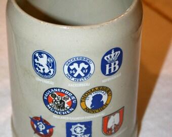 1970s Munchner Bier Stein Mug 0.5L//Stonewear West Germany//Vintage Beer Mug - Stein