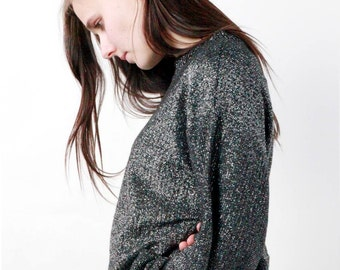 GLAM GLITTER VINTAGE sweater / / Jersey glossy glam / / Fantasy top.