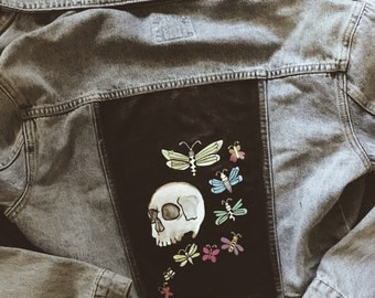 Skull and Butterfly - Hand Painted Denim Jacket