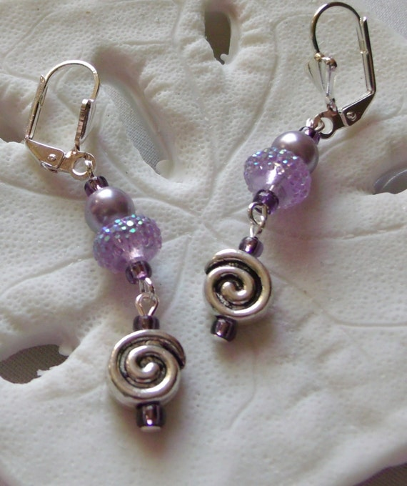 Lilac glitz resin silver swirl earrings -  teen girl jewelry - pearl short funky earring - abstract  girly design -  LizPoriginals - gift it