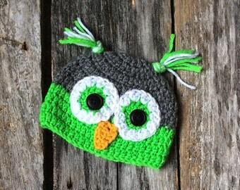 Green Owl Hat, Baby Owl Hat, Owl Hat, Infant Hat, Newborn Hat