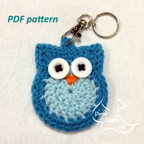 Crochet Patterns Key : Owl Key Ring / Key Chain CROCHET PDF PATTERN (keyring, keychain or ...