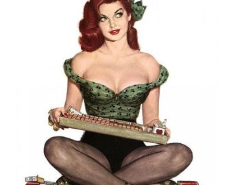 Retro Redhead Cigarette Girl Pinup Poster - Vintage Collectible Pin-up Decor - 1940s - Sexy Smoking Art Print - Rockabilly Burlesque Style