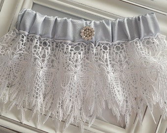 Wedding Garter, Lace Wedding Garter, Bridal Garter, Keepsake Garter, Blue Wedding Garter, Vintage Garter, Satin Garter