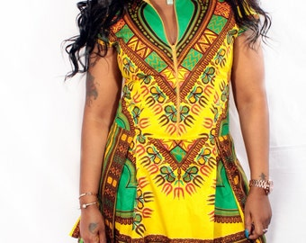Short Dashiki Pleated Dress