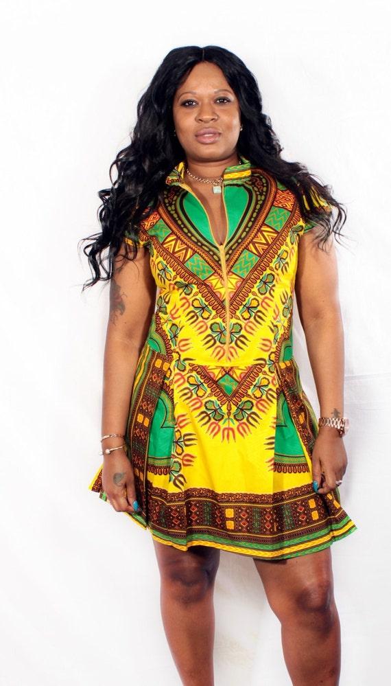 Short Dashiki Pleated Dress