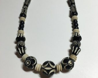 Vintage Blue Black Cream Carved Galalith Necklace