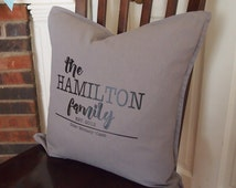 Personalized Family Pillow cover ~ Custom Pillows ~ 20x20 in throw pillows ~ gifts for her ~ pillow covers, housewarming present