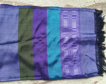 Twilight striped Ethiopian silk scarf