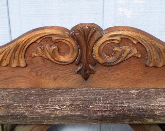 Antique Scrolled Oak Top or Decorative Oak Wood Plaque-1900's