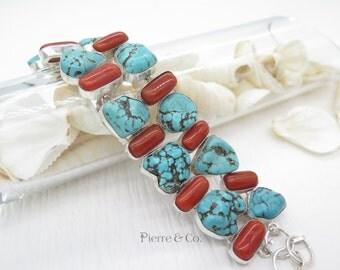 Tibetan Turquoise Coral sterling silver Bracelet