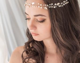 Bridal Headpiece Tiara with Peals and Crystals Bridal Vine Bridal Hair Piece