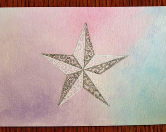 3D Star on Pastel Card