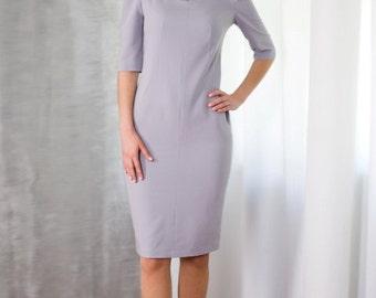 Elegant Ashy-Blue Pencil Dress by TAVROVSKA, Fitted Classic Dress