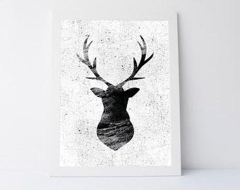 Deer Print, Wall Art printable, Deer Antlers, Deer head, Woodlands Decor, Black and White, Animal Print, Printable Art, Antler wall art