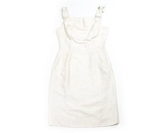 Square Neckline Ivory Dress with Bow Shoulder Detail