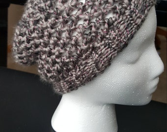 Grey with pink highlights figure-eight knit hat
