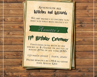 Harry Potter birthday party invitation, slytherin inspired, for witches and wizards, 11th birthday