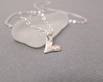 Tiny Heart Necklace ~ Free Shipping ~ Silver Heart Necklace ~ Sterling Heart Pendant ~ Dainty Delicate ~ Simple Everyday Jewelry ~ Hammered