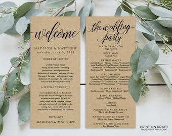 "Wedding Program Editable Template | Program Printable, Ceremony Printable | Rustic Calligraphy Kraft | 4x9"" | No. EDN 5189"