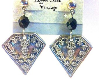 "Vintage Earrings- silver and black ""Shield"" earrings"