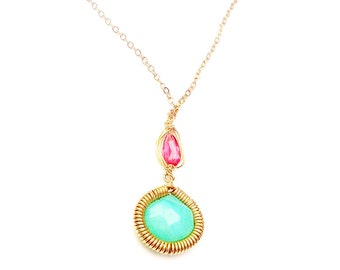 Chalcedony & Tourmaline Pendant Necklace Gold filled Pink Aqua Green One of a Kind