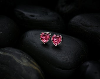 Sweet Hearts  - Rose coloured Swarovski crystals set in a lustrous rhodium finish
