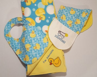 Baby Bib and Burp Pad Set, Baby Burp Cloth and Bib Gift Set, New Baby Gift, Baby Shower, Gender Neutral, Rubber Ducky Bib, Rubber Ducky Gift