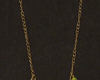 Green and Gold Necklace/Earring Set