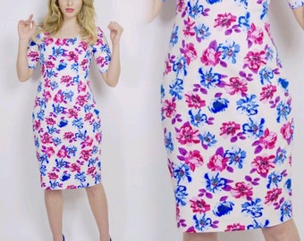 Floral dress, summer dress, flower dress, vintage style dress, mini-length dress, cotton dress, wiggle dress, occasion wear, pencil dress