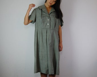 vintage 50s flexible sized cotton dress /oversized dress
