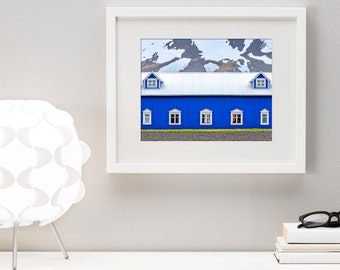 Fine Art Print, Electric Blue Industrial Chic Farmhouse in rural Iceland