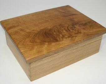Figured White Oak Top Jewelry Box, Keepsake Box, Treasure Box, or Presentation Box made from solid White Oak