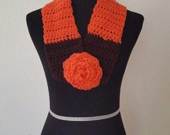 Infinity scarf, neck warmer, crochet scarf, wool scarf, wool cowl, crochet wool scarf, orange wool scarf, brown wool scarf, warm wool scarf